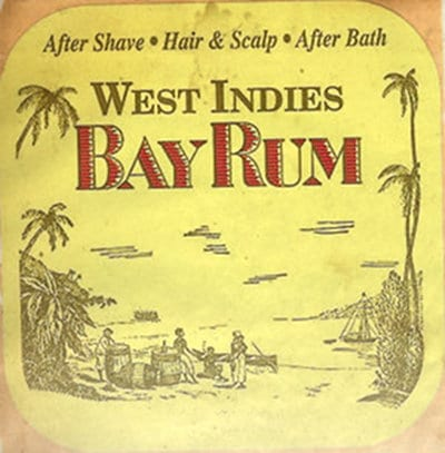 west indies bay rum after shave label
