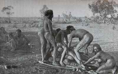 Mardudjara Aborigines Subincision illustration male rite of passage