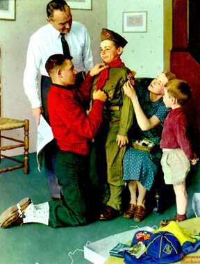 Family members preparing young boy for scouts illustration.