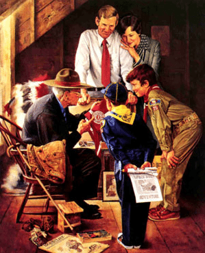 vintage boy scouts painting grandpa telling stories