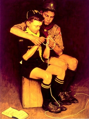 Boy scouts teach young boy to tie ropes illustration.