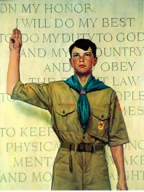 Boy scouts taking oath illustration.