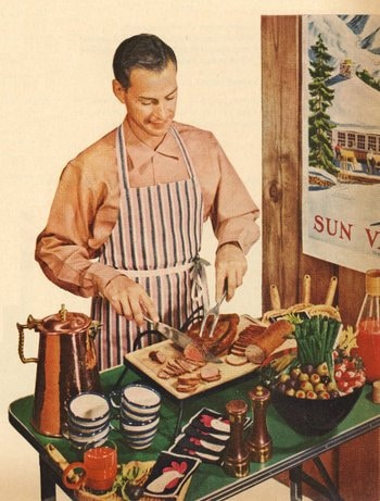 vintage man in apron cooking serving dinner painting