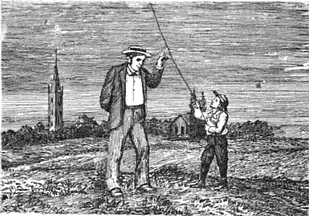 man and boy flying kites engraving vintage artwork