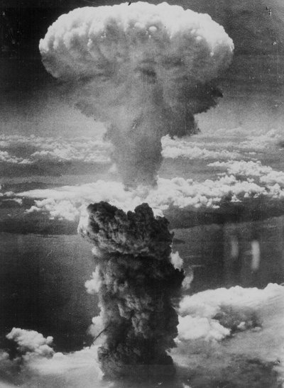 mushroom cloud from atom bomb 1950s