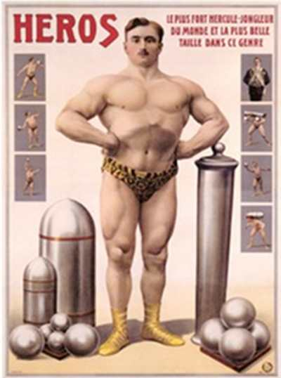 héros vintage strongman illustration odd object training