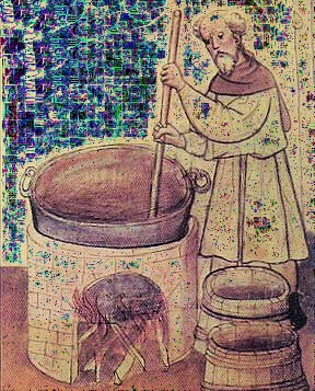Vintage illustration monk brewing beer wearing robes vat.