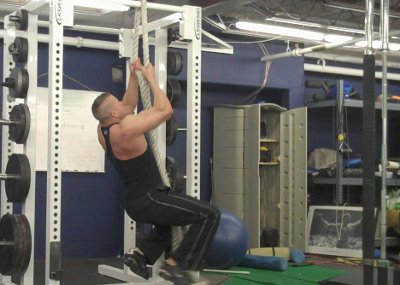 heavy rope pull ups training