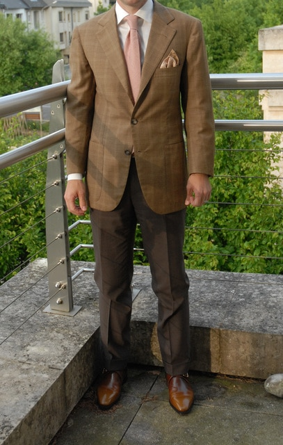 single breasted two button brown check suit