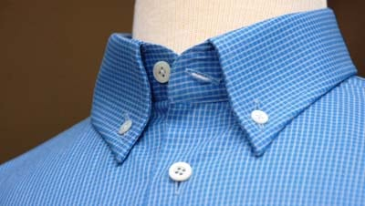 Button Down Collar close up photo blue check