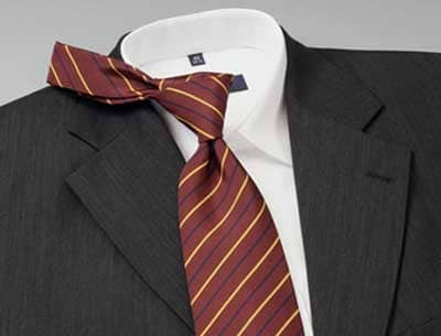 Matching maroon stripe tie to charcoal suit.