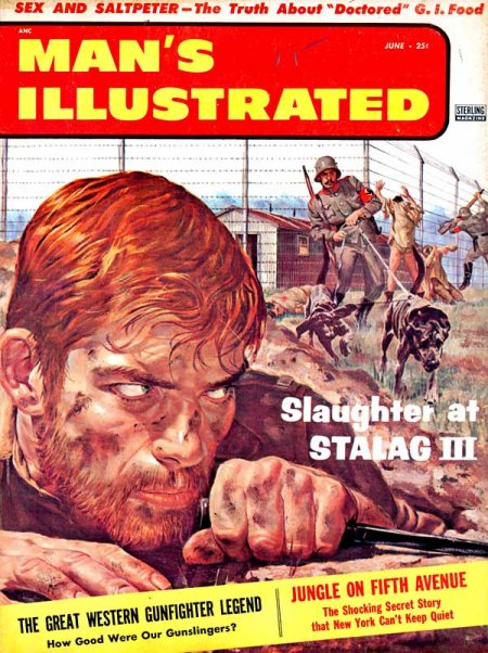 Vintage man's illustrated men's magazine slaughter at stalag III.