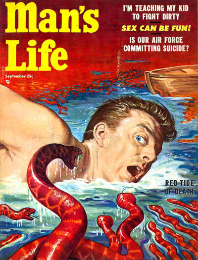 Vintage man's life magazine cover red tide of death red snakes toward man.
