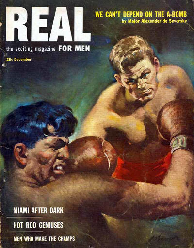 Vintage real men's magazine cover men boxing.