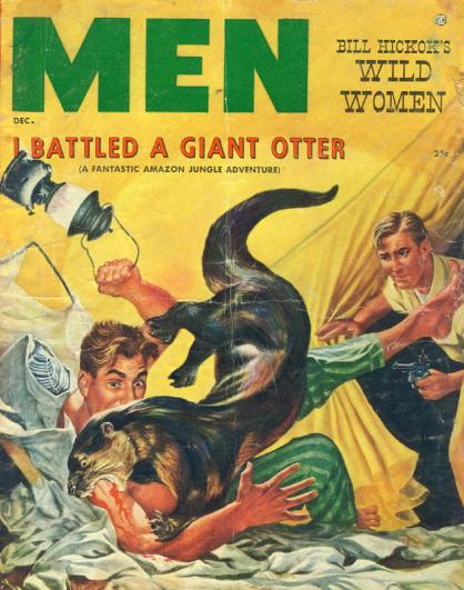 Vintage men magazine cover giant otter biting a man.
