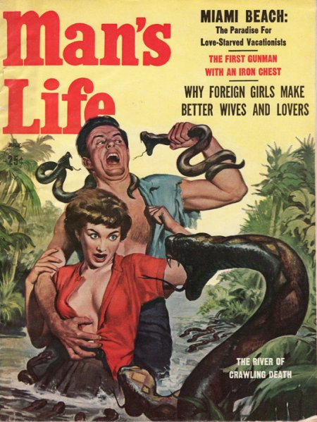 Vintage man's life men's magazine cover man fighting with snakes.