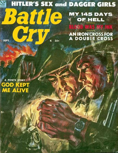 Vintage battle cry men's magazine cover men smoking.