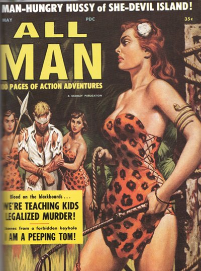 All man vintage men's magazine cover she devil.