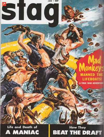 Vintage men's stag magazine cover mad monkeys.