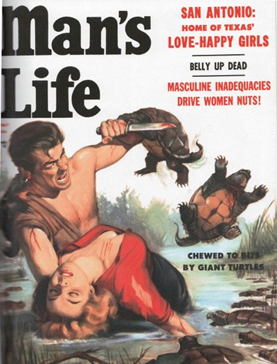 man's life men's vintage magazine cover giant turtles