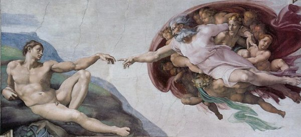 The Creation of Adam painting by Michelangelo, 1511