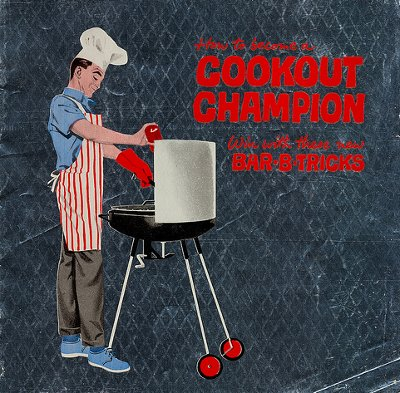1950s man grilling illustration cookout champion bbq