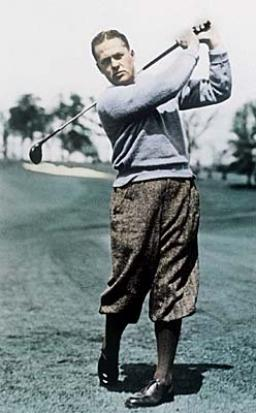 Bobby Jones golfer follow up swing in a golf course.