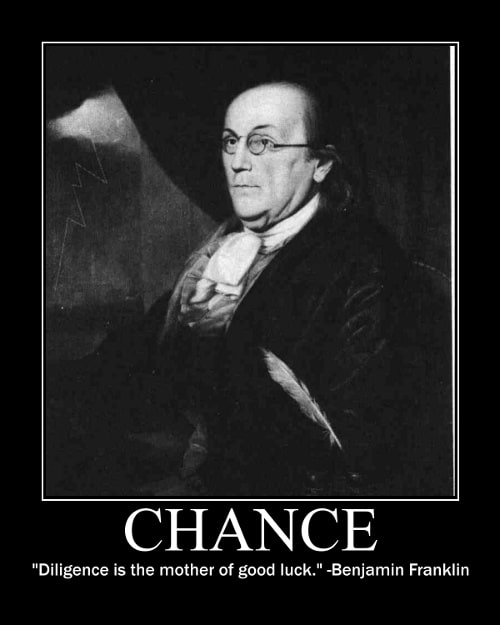 ben franklin diligence good luck quote motivational poster
