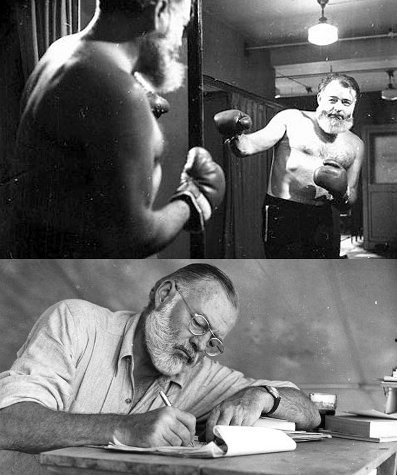 Dual photo of Ernest Hemingway posing for boxing looking in the mirror and writing.