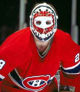 Ken Dryden hockey player wearing goalie mask.