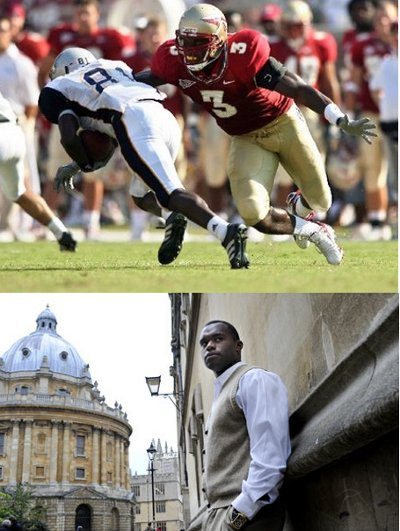 Myron Rolle playing football in Florida state and Rhodes scholar.