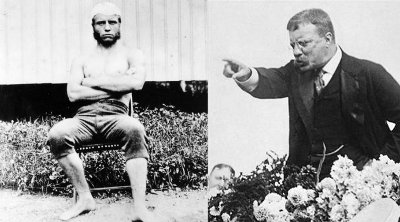 Dual photo of Theodore Roosevelt while young man and while president.