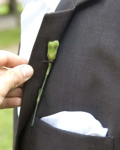 Jacket with back bud Boutonniere Latch.