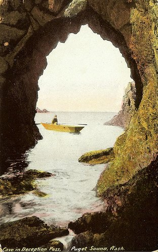 vintage deception pass postcard rower water cave