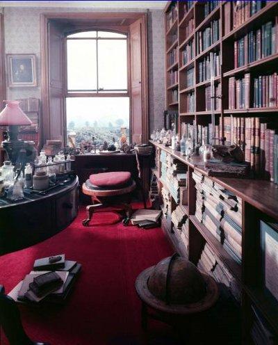 Charles Darwin's study library Kent England.