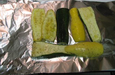 Zucchini on over a Aluminum foil.
