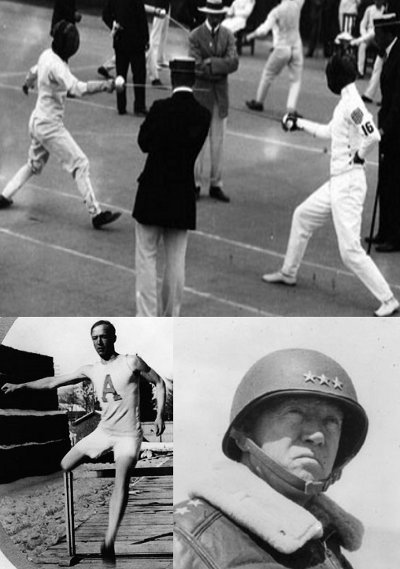 Photos of General George Patton in collage, fencing hurdles and in military.
