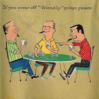 vintage illustration men playing friendly poker game