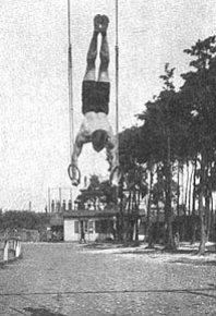 vintage gymnast on rings
