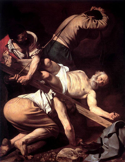 Crucifixion of Saint Peter painting Caravaggio 1601