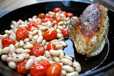 Pan Roasted Chicken Breast Roasted Tomatoes White Beans