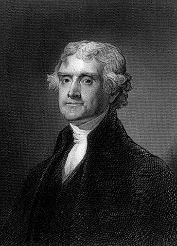 Thomas Jefferson engrave drawing portrait.
