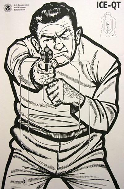 vintage shooting range target enemy with pistol