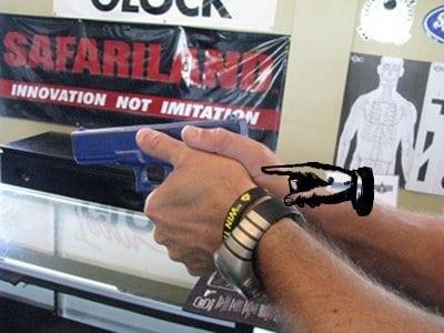 Hand placement when holding firing gun pistol illustration.
