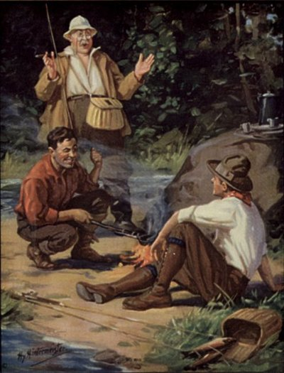 vintage painting fisherman telling tall tales