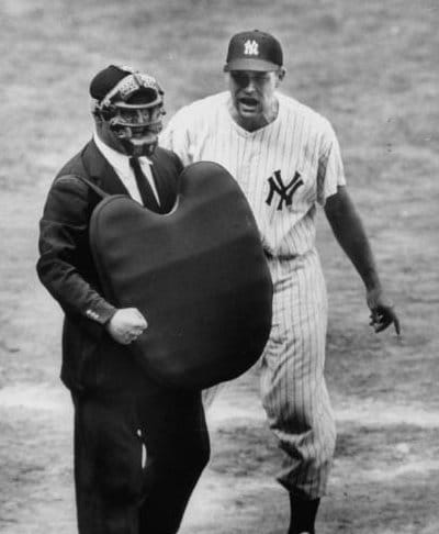 vintage yankees baseball player yelling at umpire