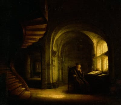 philosopher with an open book rembrandt painting