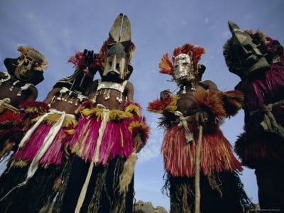 african tribe of men wearing masks
