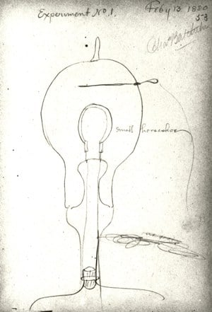 Thomas Edison notebook about sketch of incandescent light bulb.