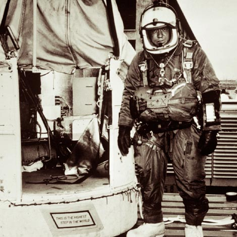 Joseph Kittinger standing for man-high test flight in space suit.